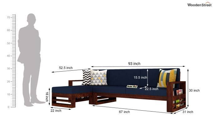 Ryker L-Shape Left Aligned Wooden Sofa (Indigo Ink)-5