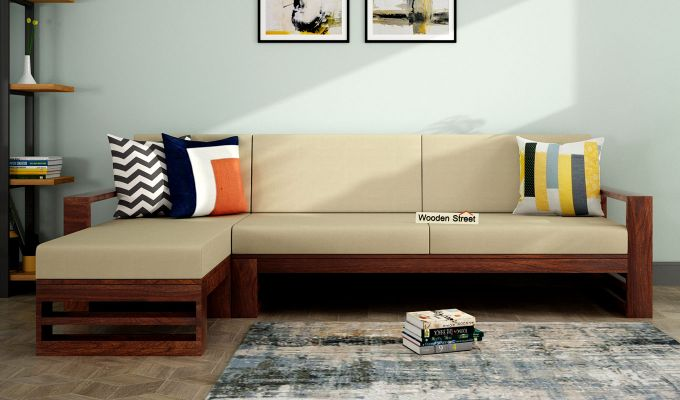 Ryker L-Shape Left Aligned Wooden Sofa (Irish Cream)-1