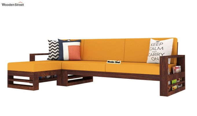 Ryker  L-Shape Left Arm Wooden Sofa (Yellow Blush)-2