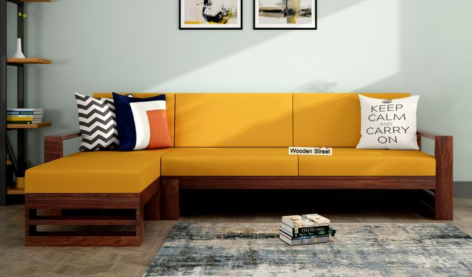 Ryker  L-Shape Left Arm Wooden Sofa (Yellow Blush)-1