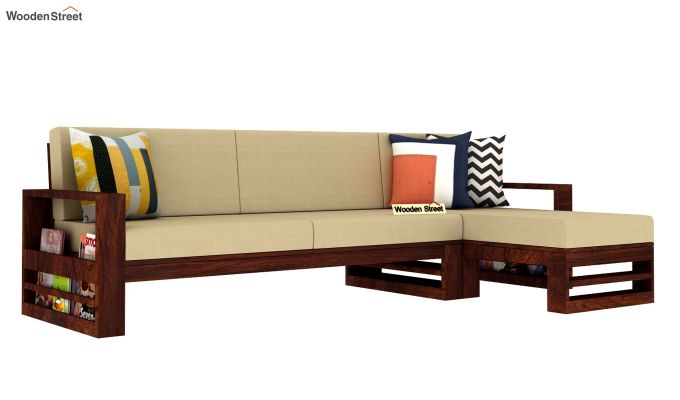 Ryker L-Shape Right Aligned Wooden Sofa (Irish Cream)-2