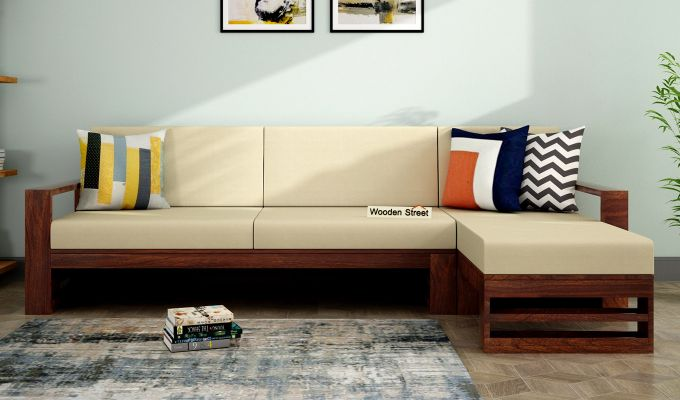 Ryker L-Shape Right Aligned Wooden Sofa (Irish Cream)-1