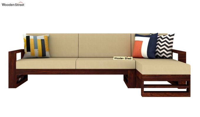 Ryker L-Shape Right Aligned Wooden Sofa (Irish Cream)-3
