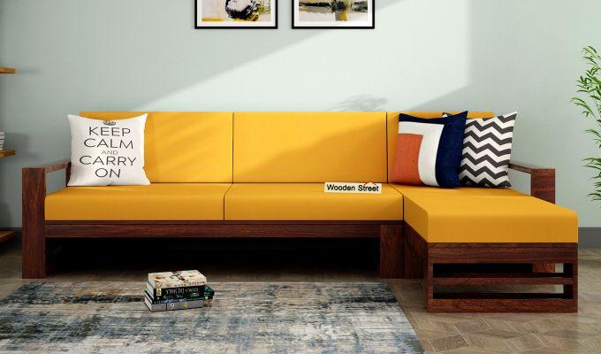 Ryker L-Shape Right Arm Wooden Sofa (Yellow Blush)-1
