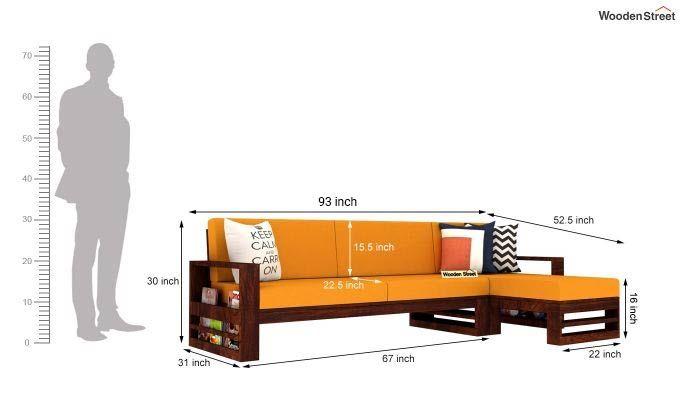 Ryker L-Shape Right Arm Wooden Sofa (Yellow Blush)-5