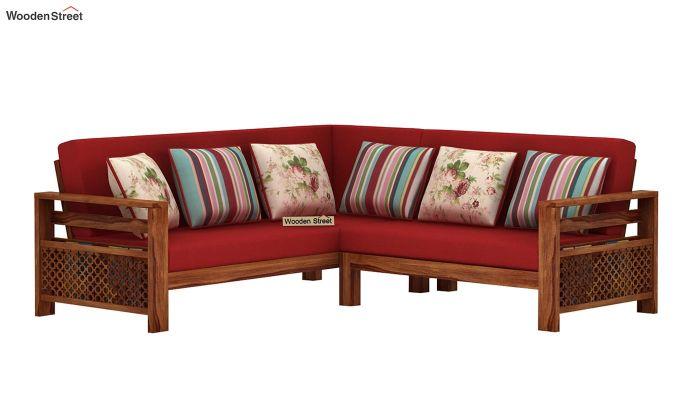 Vigo L-Shaped Wooden Sofa (Dusky Rose, Teak Finish)-2