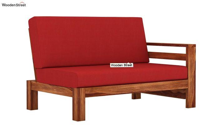 Vigo L-Shaped Wooden Sofa (Dusky Rose, Teak Finish)-7