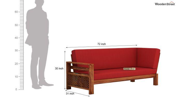 Vigo L-Shaped Wooden Sofa (Dusky Rose, Teak Finish)-11