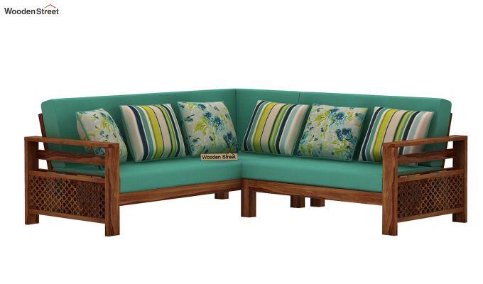 Vigo L-Shaped Wooden Sofa (Electric Turquoise, Teak Finish)-2