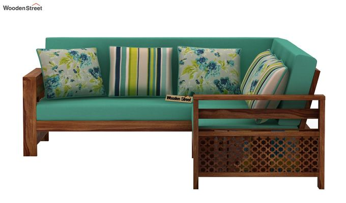 Vigo L-Shaped Wooden Sofa (Electric Turquoise, Teak Finish)-3