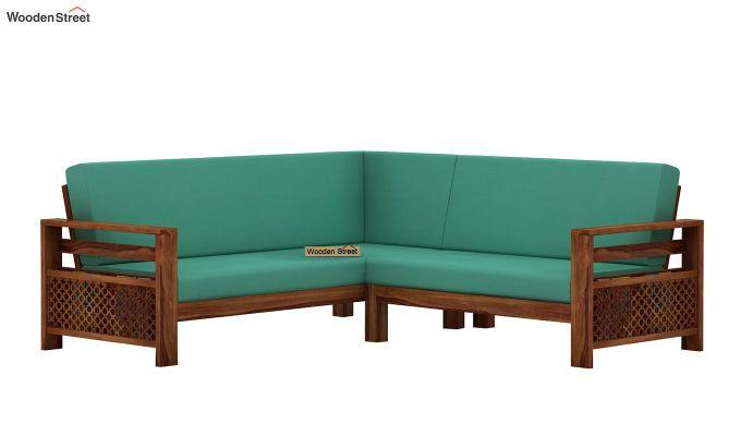 Vigo L-Shaped Wooden Sofa (Electric Turquoise, Teak Finish)-4