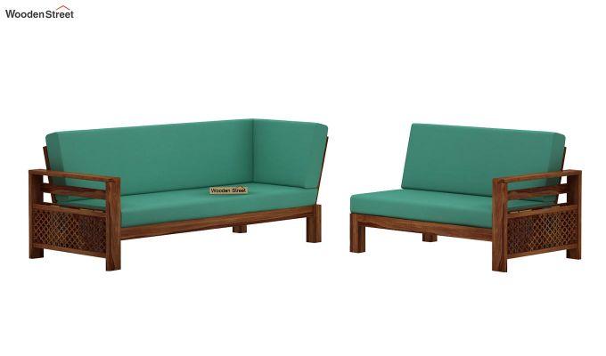 Vigo L-Shaped Wooden Sofa (Electric Turquoise, Teak Finish)-5
