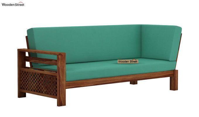 Vigo L-Shaped Wooden Sofa (Electric Turquoise, Teak Finish)-6