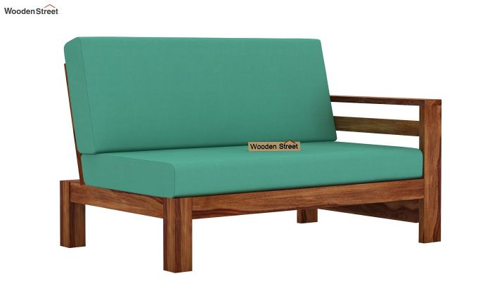 Vigo L-Shaped Wooden Sofa (Electric Turquoise, Teak Finish)-7