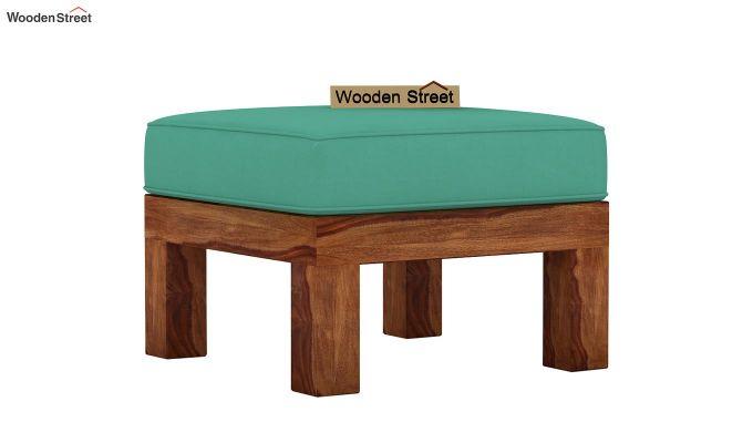Vigo L-Shaped Wooden Sofa (Electric Turquoise, Teak Finish)-8