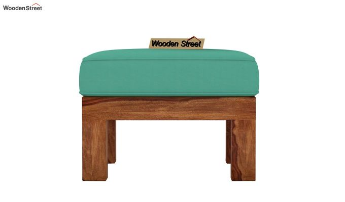 Vigo L-Shaped Wooden Sofa (Electric Turquoise, Teak Finish)-9