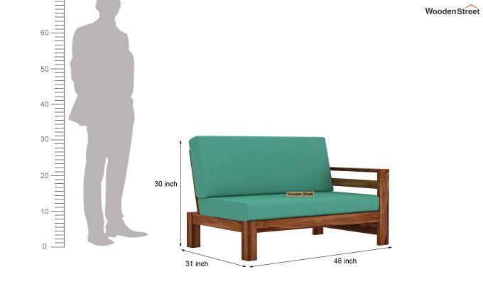 Vigo L-Shaped Wooden Sofa (Electric Turquoise, Teak Finish)-10
