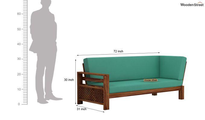 Vigo L-Shaped Wooden Sofa (Electric Turquoise, Teak Finish)-11