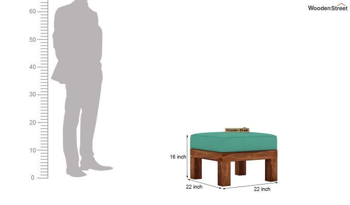 Vigo L-Shaped Wooden Sofa (Electric Turquoise, Teak Finish)-12
