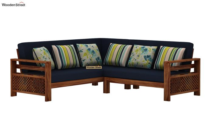 Vigo L-Shaped Wooden Sofa (Indigo Ink, Teak Finish)-2