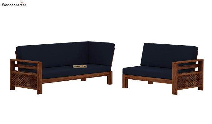 Vigo L-Shaped Wooden Sofa (Indigo Ink, Teak Finish)-5