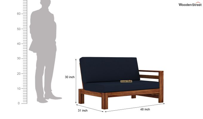 Vigo L-Shaped Wooden Sofa (Indigo Ink, Teak Finish)-10