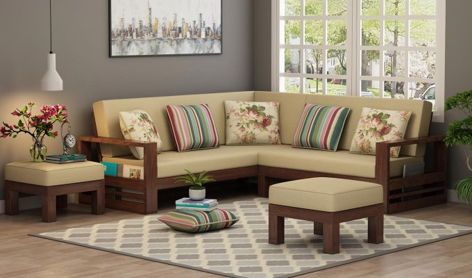 Winster L-Shaped Wooden Sofa (Irish Cream, Walnut Finish)-1
