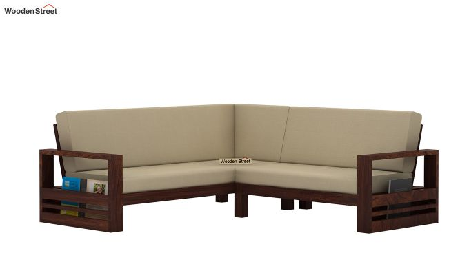 Winster L-Shaped Wooden Sofa (Irish Cream, Walnut Finish)-4
