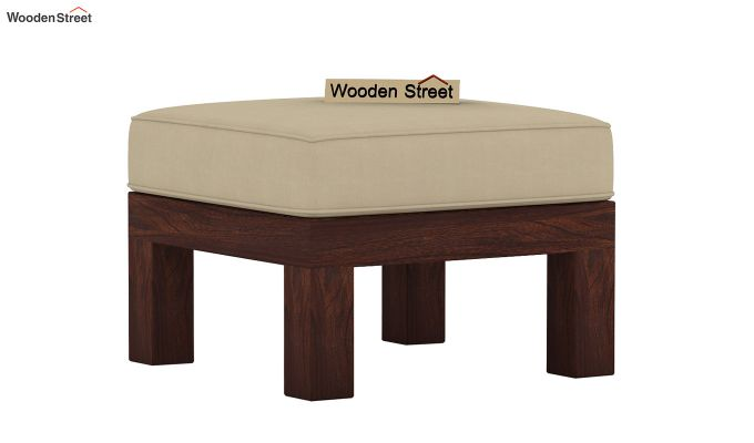 Winster L-Shaped Wooden Sofa (Irish Cream, Walnut Finish)-5