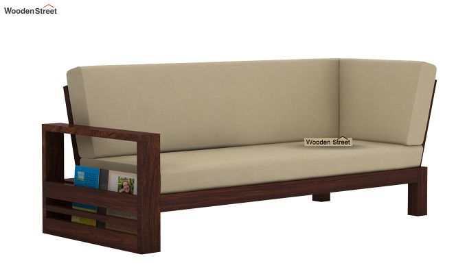 Winster L-Shaped Wooden Sofa (Irish Cream, Walnut Finish)-7