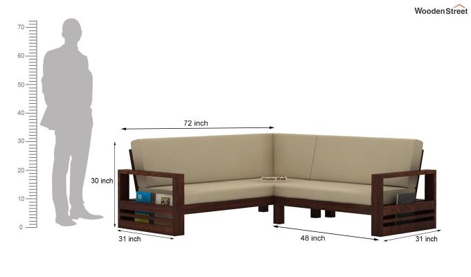 Winster L-Shaped Wooden Sofa (Irish Cream, Walnut Finish)-13