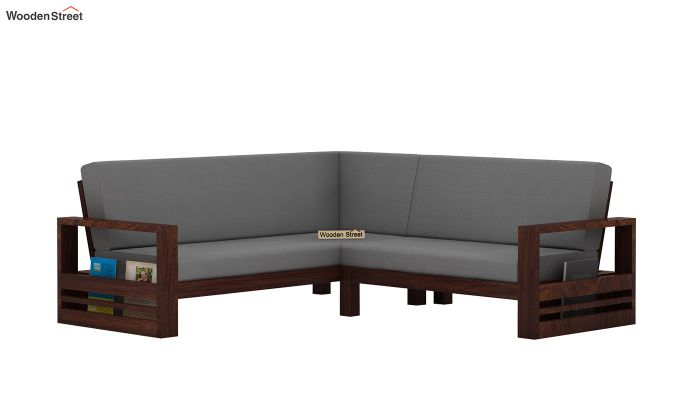 Winster L-Shaped Wooden Sofa (Warm Grey, Walnut Finish)-4