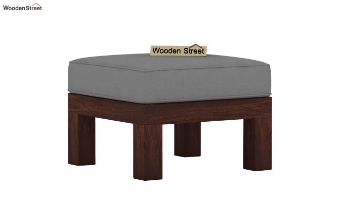 Winster L-Shaped Wooden Sofa (Warm Grey, Walnut Finish)-5