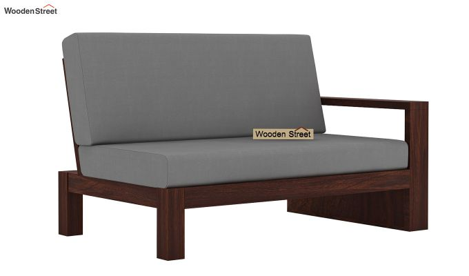 Winster L-Shaped Wooden Sofa (Warm Grey, Walnut Finish)-8