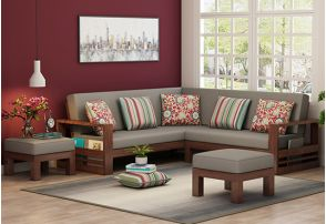 L Shaped Wooden Corner Sofa Warm Grey Walnut Finish