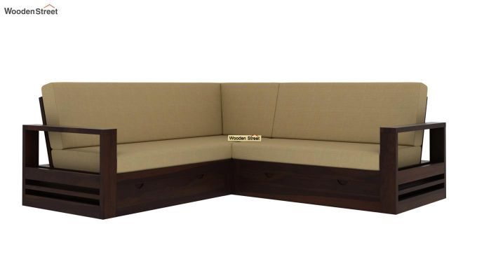 Winster L-Shaped Wooden Sofa with Storage (Walnut Finish)-2