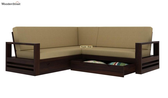 Winster L-Shaped Wooden Sofa with Storage (Walnut Finish)-4
