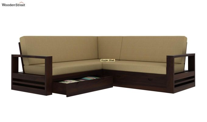 Winster L-Shaped Wooden Sofa with Storage (Walnut Finish)-5