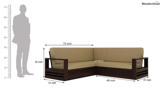 Winster L-Shaped Wooden Sofa with Storage (Walnut Finish)-6