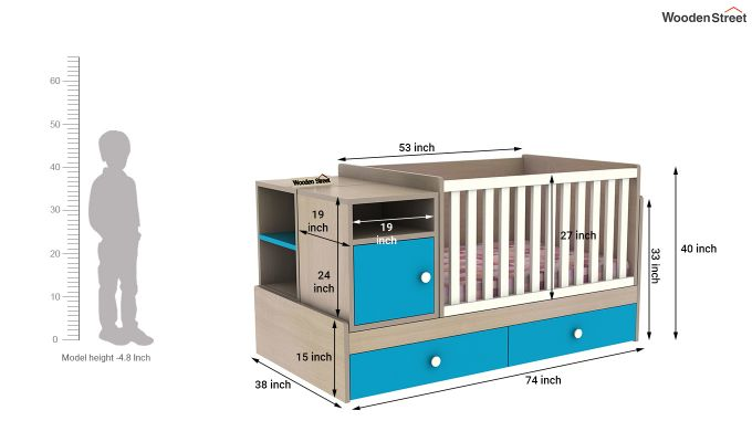 Haven Multi-Functional Crib (Celestial Blue)-8