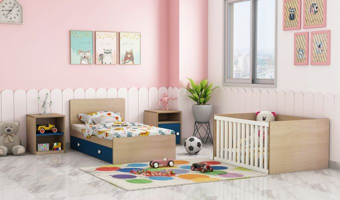 Haven Multi-Functional Crib (Electric Blue)-2