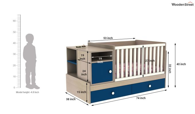 Haven Multi-Functional Crib (Electric Blue)-8