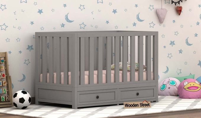Lunar Crib With Storage Drawer (Grey)-1