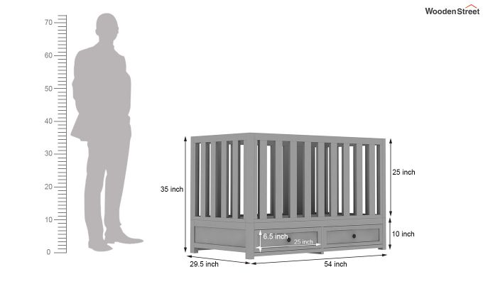 Lunar Crib With Storage Drawer (Grey)-9