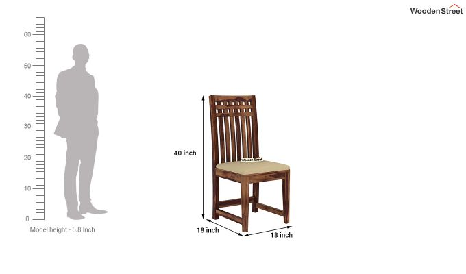 Adolph Dining Chair With Fabric (Teak Finish)-4