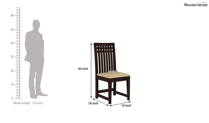 Adolph Dining Chair With Fabric (Walnut Finish)-4