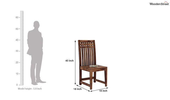 Adolph Dining Chair without Fabric (Teak Finish)-4