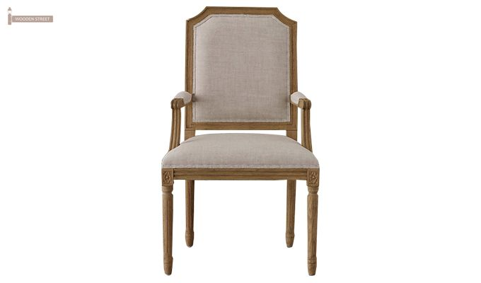 Alicia Arm Dining Chair With Fabric (Teak Finish)-2