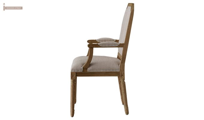 Alicia Arm Dining Chair With Fabric (Teak Finish)-3