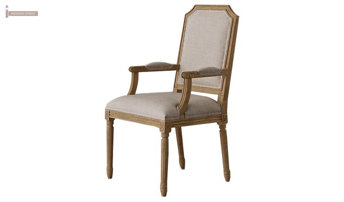 Alicia Arm Dining Chair With Fabric (Teak Finish)-1